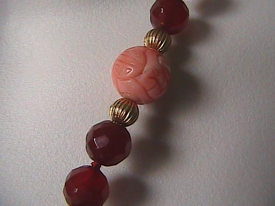 Other 14k Solid Yellow Gold Carnelian Angel Skin Coral Bead Agate Pendant
