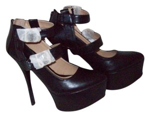 JustFab Buckles And Zippers Black Platforms