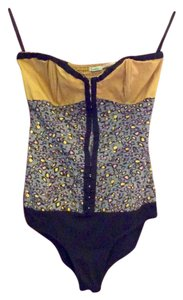 Kimchi Blue Top Mustard/Black/Gray Blue multi