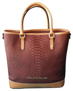 Dooney & Bourke Python Snakeskin Satchel in Saddle (Burgundy & Reddish Brown) & Brown (A Cross Between Tawny & Brown)