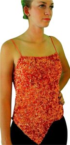 Cache New Sequin Assymetrical Top Mauve/Orange