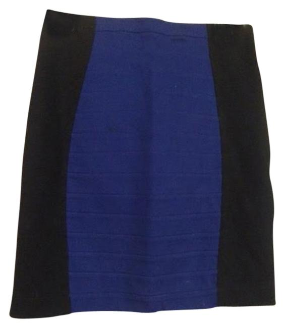 Express Pencil Color Work Appropriate Skirt Black and Blue