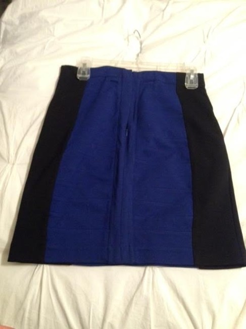 Express Pencil Color Banded Work Appropriate Skirt Black and Blue