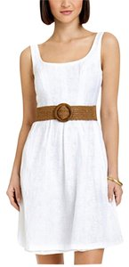 Nine West short dress White Sleeveless Flare Belted on Tradesy
