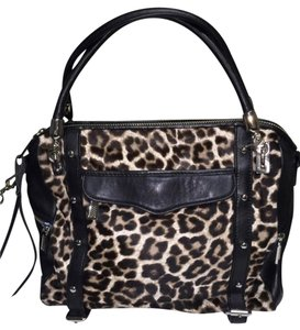 Rebecca Minkoff Cupid Satchel in Black and leopard print