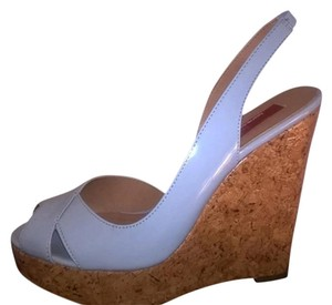 Saks Fifth Avenue Patent Leather Cork Spring Summer baby blue Wedges