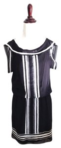 Max Studio short dress Black & white Semi-sheer Lace Trim Staple Basic on Tradesy