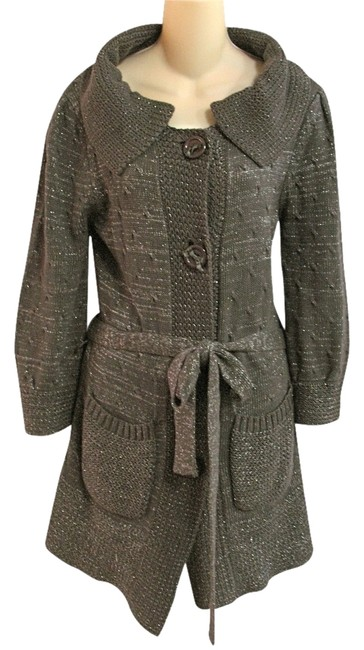 Item - M 96% Cotton 4% Metalic Shimmery Tunic Belted Cardigan Sweater