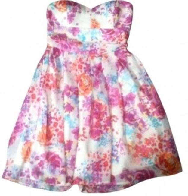 Preload https://item1.tradesy.com/images/forever-21-white-with-colored-flower-design-tube-top-floral-print-sun-above-knee-cocktail-dress-size-131965-0-0.jpg?width=400&height=650