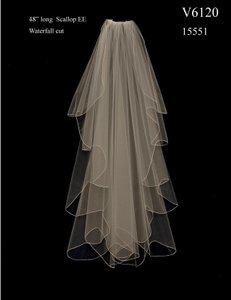 J.L. Johnson Bridals Custom Made Knee Length Waterfall Wedding Veil