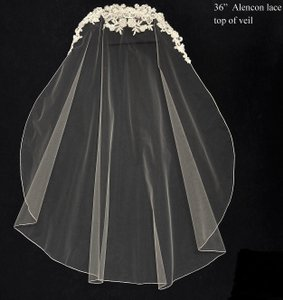 J.L. Johnson Bridals Beaded Lace Top Fingertip Length Wedding Veil