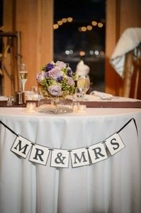 Ivory & Black Banner Reception Decoration