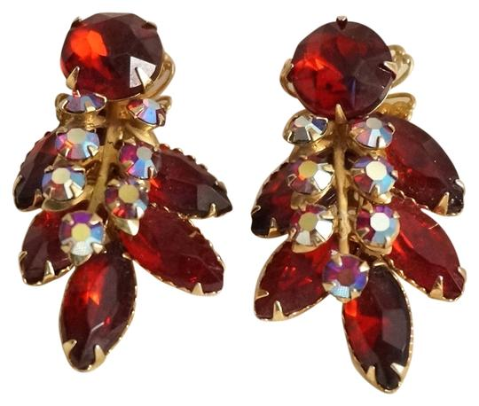 Beaujewels Vintage Beaujewels Red Rhinestone Runway Statement Earrings Image 0