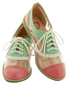 Red Circle Footwear Oxford Clear Transparent Mint, White, Pink Flats