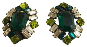 Other Vintage Prong Set Emerald Green Rhinestone Runway Earrings