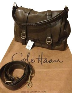 Cole Haan Leather Olive / Gold Messenger Bag