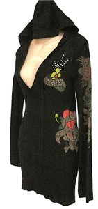 Ed Hardy M Sweater V-neck Drawstring Bird Tattoo Print Tunic Embellished Sweatshirt