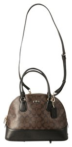 Coach Dome Black/Brown Goldtone Hardware Monogram Leather Satchel in Brown/Black