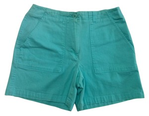 Larry Levine High Waist Size 8 Aqua Bermuda Shorts Blue