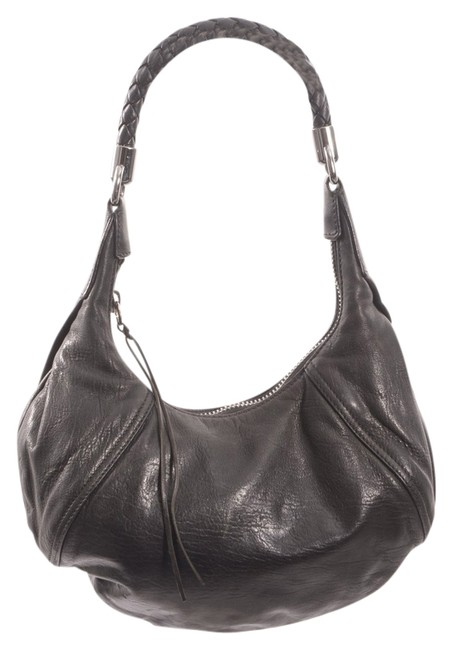 Item - W Small W/ Silver-tone Detail Black Leather Hobo Bag