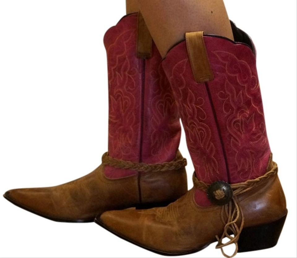 Pink Distressed Tan Vintage Ruby Leather Distressed Pink Cowboy Boots/Booties 80c6c9