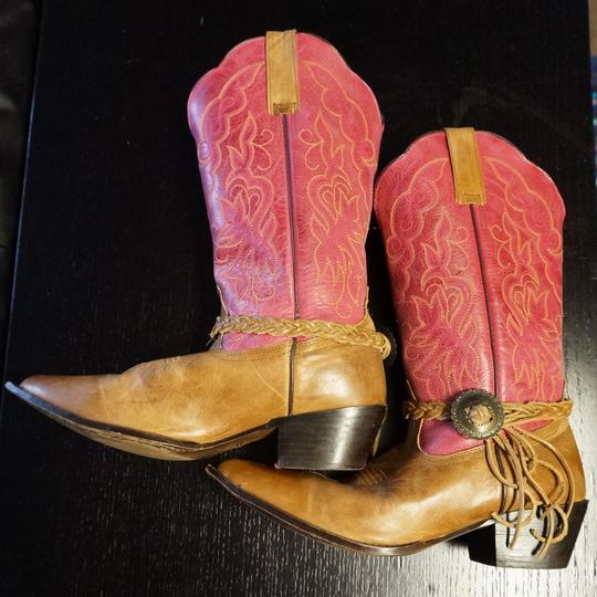 Oak Tree Farm Italian Made In Italy Brown Leather Pink Tan Boots Image 3