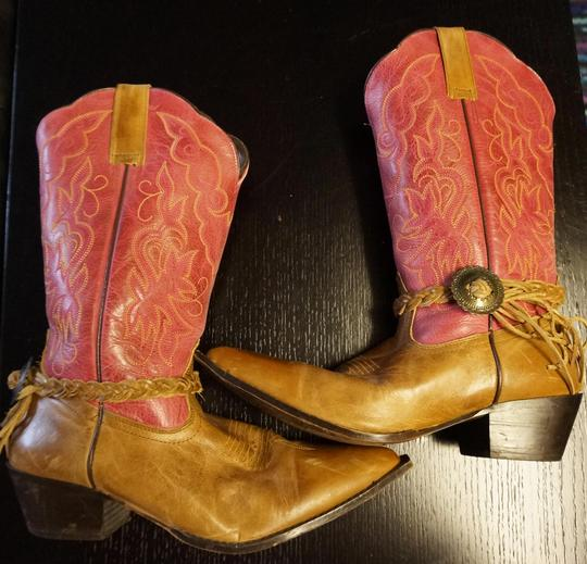 Oak Tree Farm Italian Made In Italy Brown Leather Pink Tan Boots Image 5