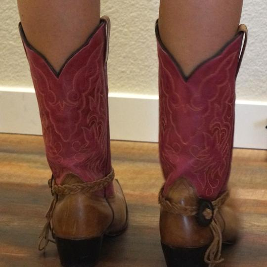 Oak Tree Farm Italian Made In Italy Brown Leather Pink Tan Boots Image 6