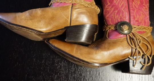 Oak Tree Farm Italian Made In Italy Brown Leather Pink Tan Boots Image 9