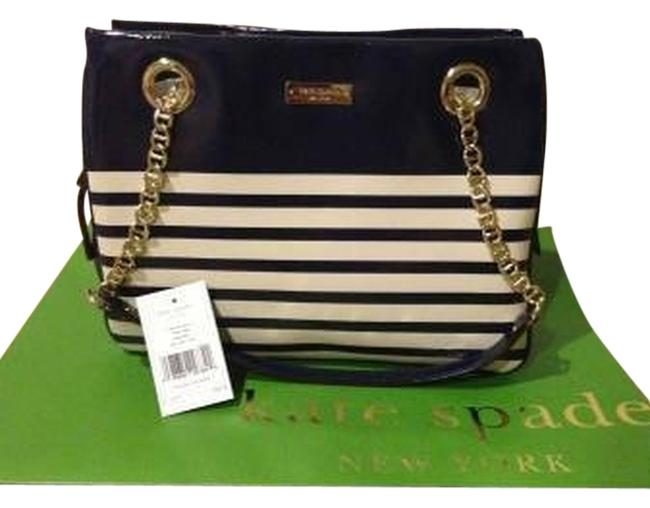 Item - Watch Hill Collection Navy / White Stripe Gold Patent Leather Shoulder Bag