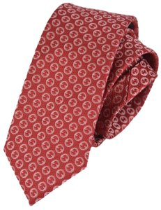 Gucci NEW Gucci Men's 408872 Red Silk Twill Interlocking GG Neck Tie