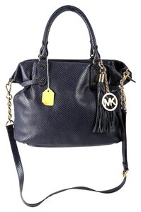 Michael Kors Megan Large Snake Embossed Leather Satchel in Blue