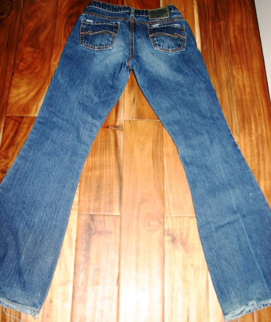 Silver Jeans Co. Designer Distressed Dark Wash Worn Aged 27 Small Long 5 Pocket Button Zip Fly Boot Cut Jeans-Distressed