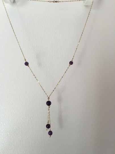 Other 14K YELLOW GOLD NECKLACE WITH AMETHYST BEADS (Y SHAPE DESIGN) Image 3