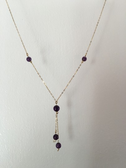 Other 14K YELLOW GOLD NECKLACE WITH AMETHYST BEADS (Y SHAPE DESIGN) Image 4