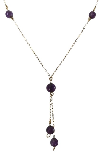Item - 14k Yellow Gold and Purple With Amethyst Beads (Y Shape Design) Necklace