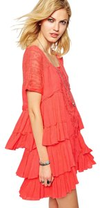 Free People short dress Pink Orange Gauze Tiered Frayed Edge Summer Fresh on Tradesy