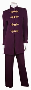St. John purple santana knit jacket trouser gold lion button set