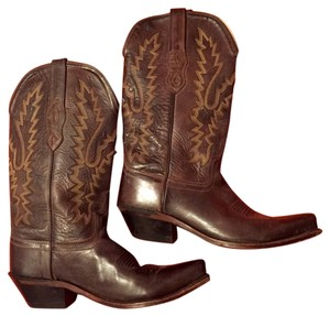 Old West Cowboy Leather Brown Boots