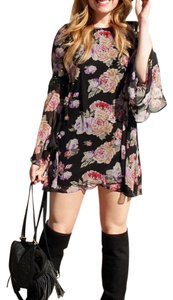 Cotton Candy LA short dress Black floral on Tradesy
