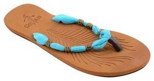 Corkys Beaded Flipflop Turquoise Sandals
