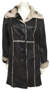 Laundry by Shelli Segal Shearling Faux Vegan Print Fur Jacket Leather 12 14 Animal Print Large L Fur Coat