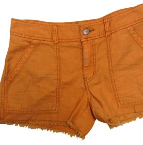 Free People Cargo Cargo Pockets Fringe Cut Off Shorts Marigold