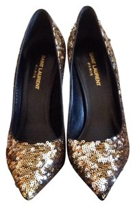 Saint Laurent Gold with Siver Pumps