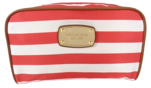 Michael Kors Michael Kors 35S5GAYM3R Women's Abbey Red White Large Cosmetic Travel Pouch NEW!
