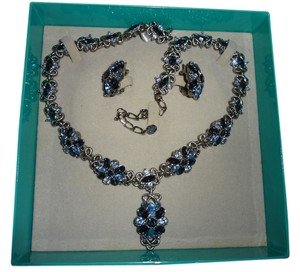 Marvella Vintage Marvella blue sapphire crystal silver necklace & earring set