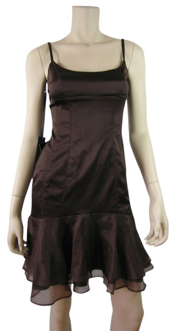 Item - Chestnut Pintch Satin Brown Tube Tier Poly Coctail Knee Length Mid-length Night Out Dress Size 8 (M)