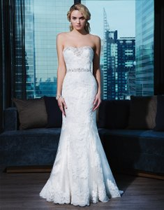 Justin Alexander Pearl/Silver/White Satin and Layered Lace 9720 Signature Collection Wedding Dress Size 6 (S)