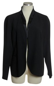 Eileen Fisher 100% Silk Open-front Black Blazer