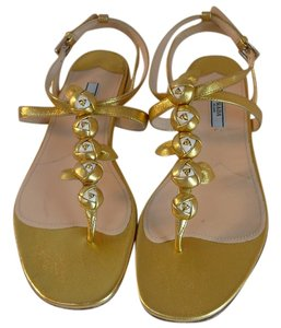 Prada 38.5 New 38.5 Gold Sandals